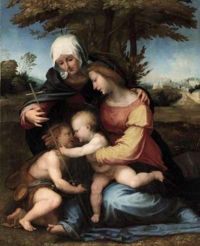 (EFE)  En la imagen, Virgen y Niño en un paisaje con Santa Isabel y el niño San Juan Bautista, tabla religiosa de Fra Bartolommeo (1472-1517)